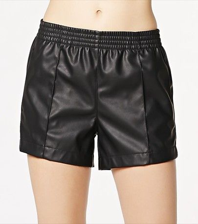 Add an edge to your wardrobe with this pair of faux leather shorts!