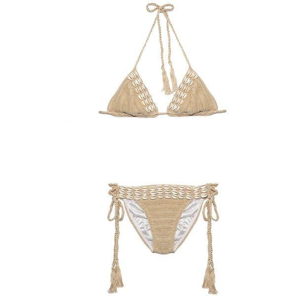 Anna Kosturova Seashore crochet bikini ($275) ❤ liked on Polyvore featuring swimwear, bikinis, beige, crochet bikini, crochet swimwear, triangle bikini, macrame bikini and boho swimwear