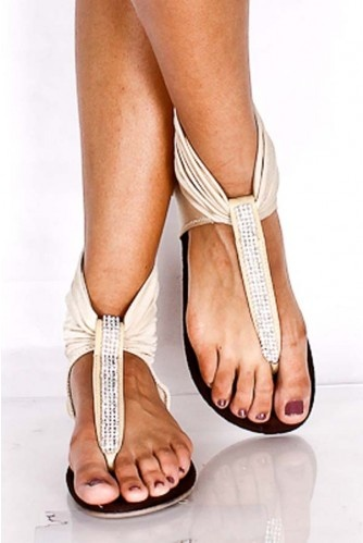 NUDE RHINESTONE DETAIL SPANDEX SANDALS-these look like they would be very comfy!