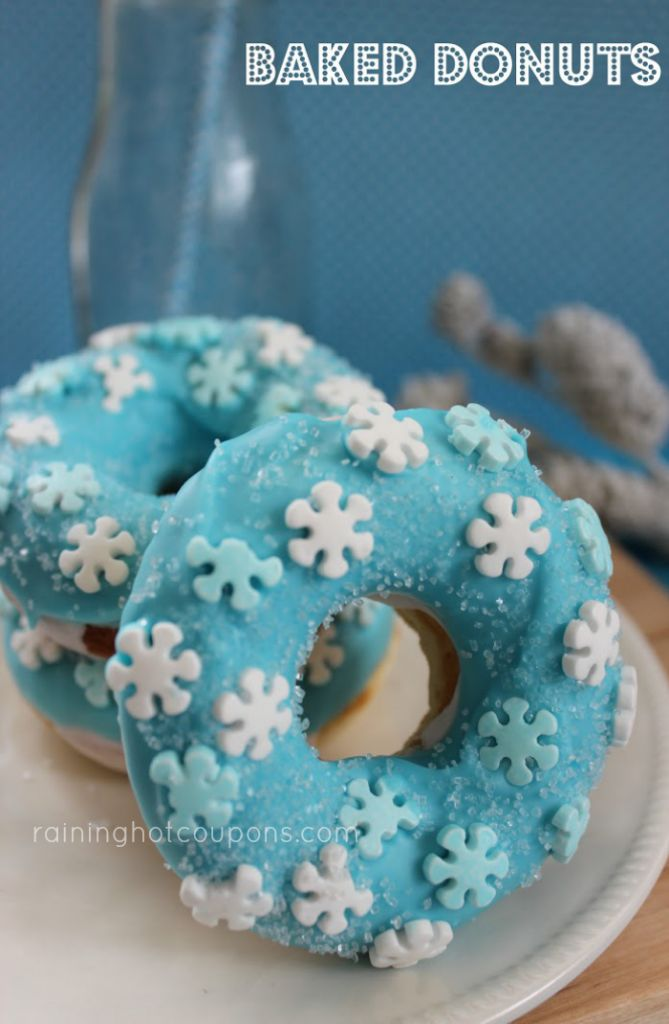 Snowflake baked donuts - this would be a great treat for a Frozen Birthday Party