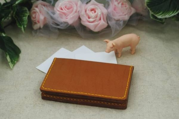 Purse ¥1円 ハンドメイド本革名刺入れ茶色 インテリア 雑貨 Handmade ¥110yen 〆05月20日