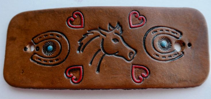 Horse Lover Leather Hair Cuff, Western Hair Slide, Western Hair Accessory, Leather Stick Hair Tie, Ponytail Holder, Cowgirl Gift, Leather by BaublesAndBlingCo on Etsy
