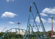 Opening in May 2012 - Leviathan is the 16th roller coaster at the Park. Riders climb to 306ft. and are dropped back to earth at an 80 degree angle, reaching speeds of 148km/hour!  Height Requirement: 54 inches