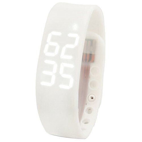 TOOGOO(R)New Waterproof Movement Health Pedometer Sleep Monitoring Smart Bracelet Watches white * Details can be found by clicking on the image.