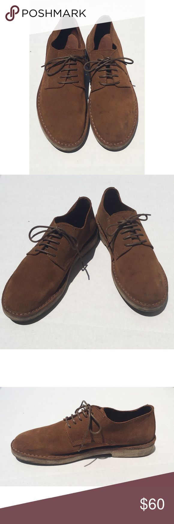 J Crew Sued Leather Men's Shoes Size 9 J Crew Suede Leather men shoes size 9. Dressy, casual very comfortable shoes. These are gently used but in great condition. There are a few spots on the front left shoes as seen in pic, otherwise in very good condition! J. Crew Shoes Oxfords & Derbys
