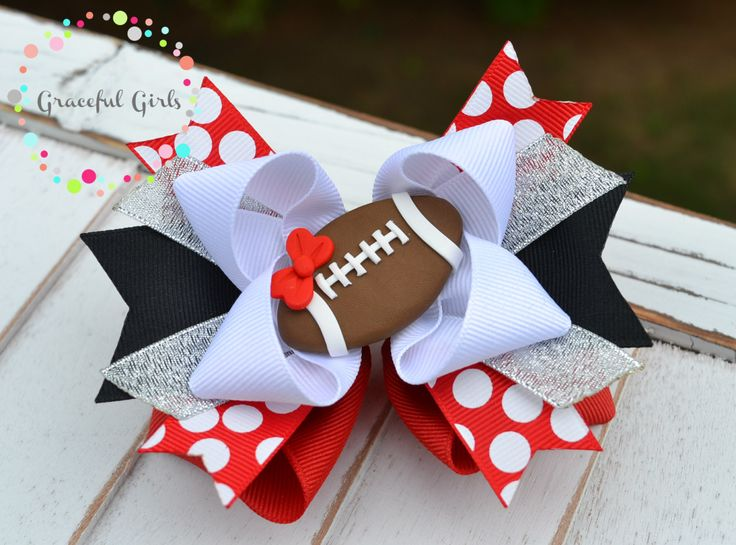 Football Hair Bow by GracefulGirls on Etsy