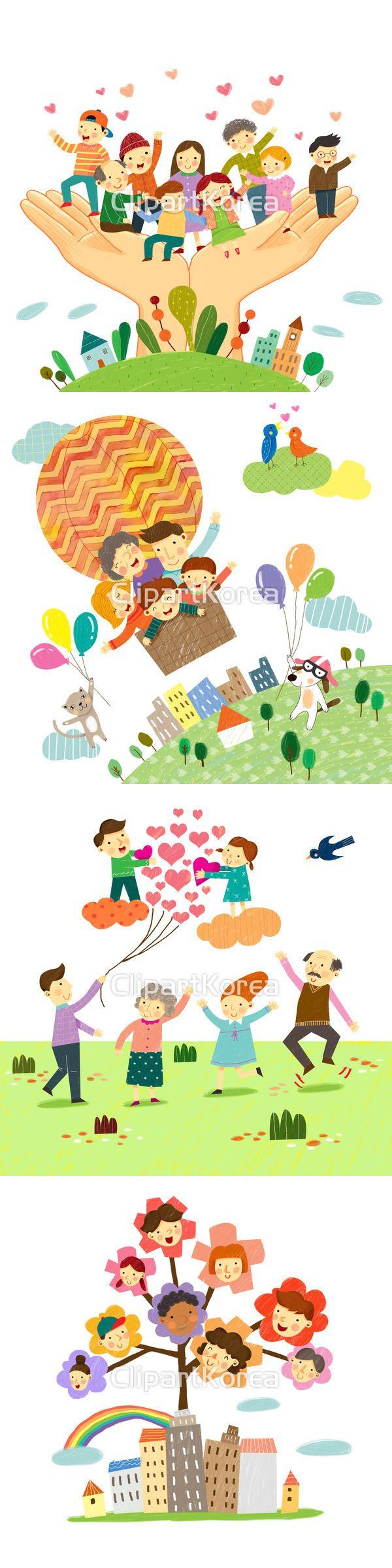 일러스트 가족 구름 귀여움 글로벌 꽃 꿈 나무 나뭇가지 남자 남자어린이 노년 다민족 딸 무늬 무지개 미소 부부 빌딩 사랑 서기 소통 아들 아빠…