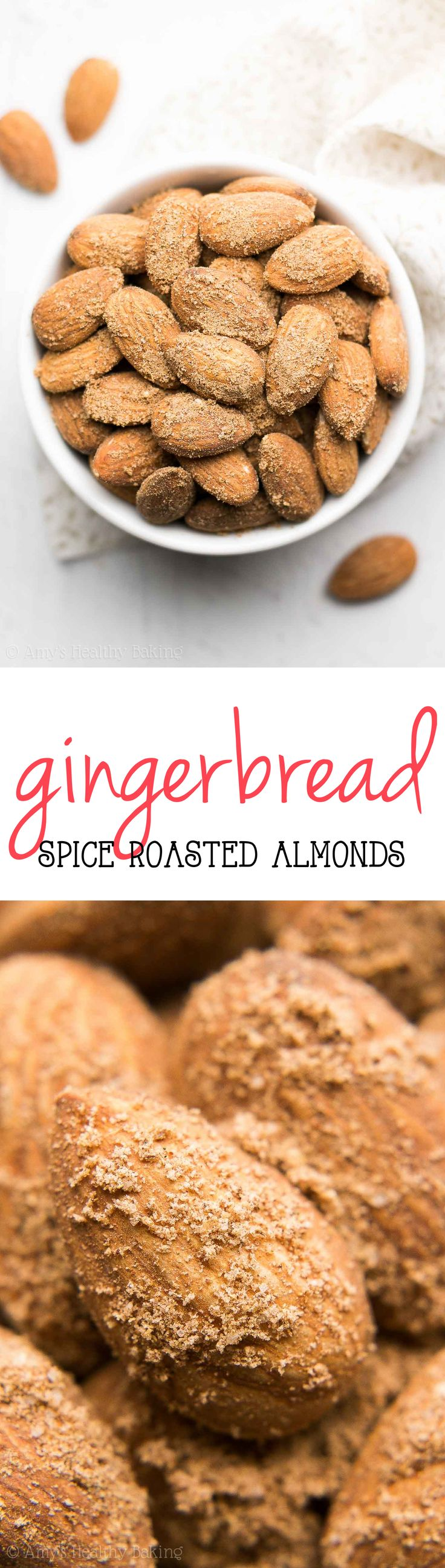 Healthy Gingerbread Spice Roasted Almonds -- just 10 minutes to make this easy snack! SO much better than those store-bought snack packs!