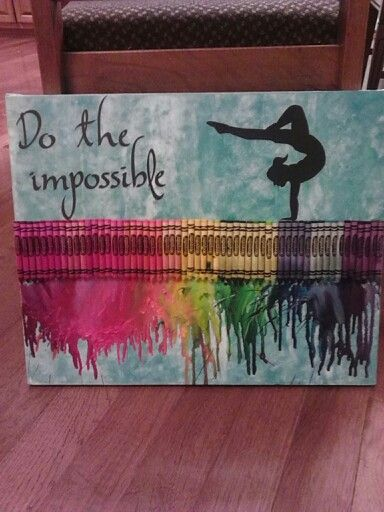 Gymnastics Melted Crayon Art..... LOVE ♥ It's on a beam as my daughter says I said a beam of crayons lol