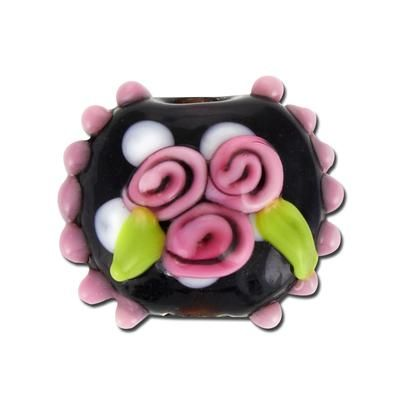 17mm black with bumps and pink flower trio disc lampwork glass beads