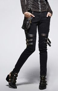 K-207 PUNK RAVE, black skinny jeans, pockets, steampunk pants | CLOTHING \ Trousers | Restyle.pl