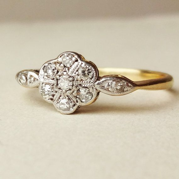 Art Deco Diamond Flower Ring Antique Engagement Ring by luxedeluxe