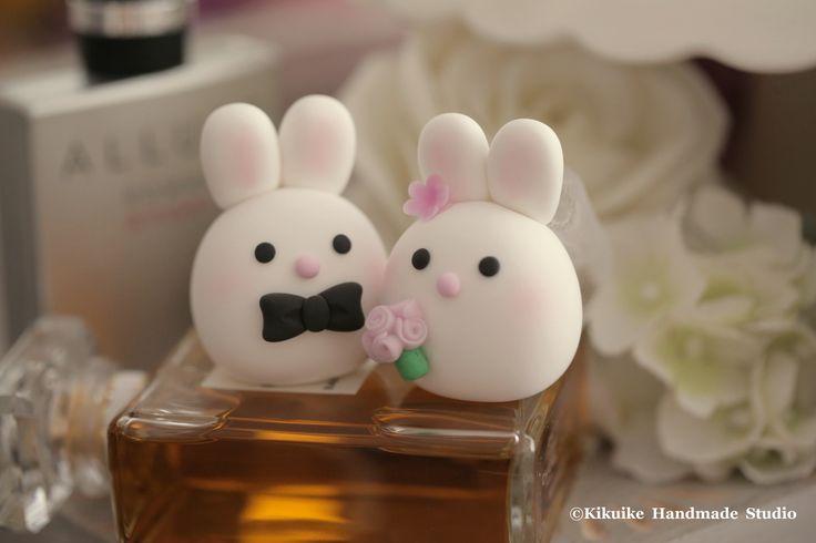 Bunny and Rabbit wedding cake topper