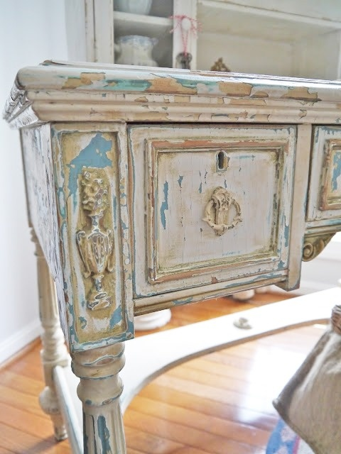 Painted Furniture : Table With Layers Of Distressed Painting.