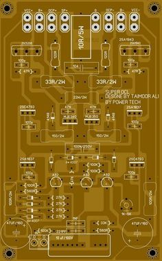 PCB layout super OCL 500 Watt Power Amplifier Circuit diagram | Electronic Circuit Diagram and Layout