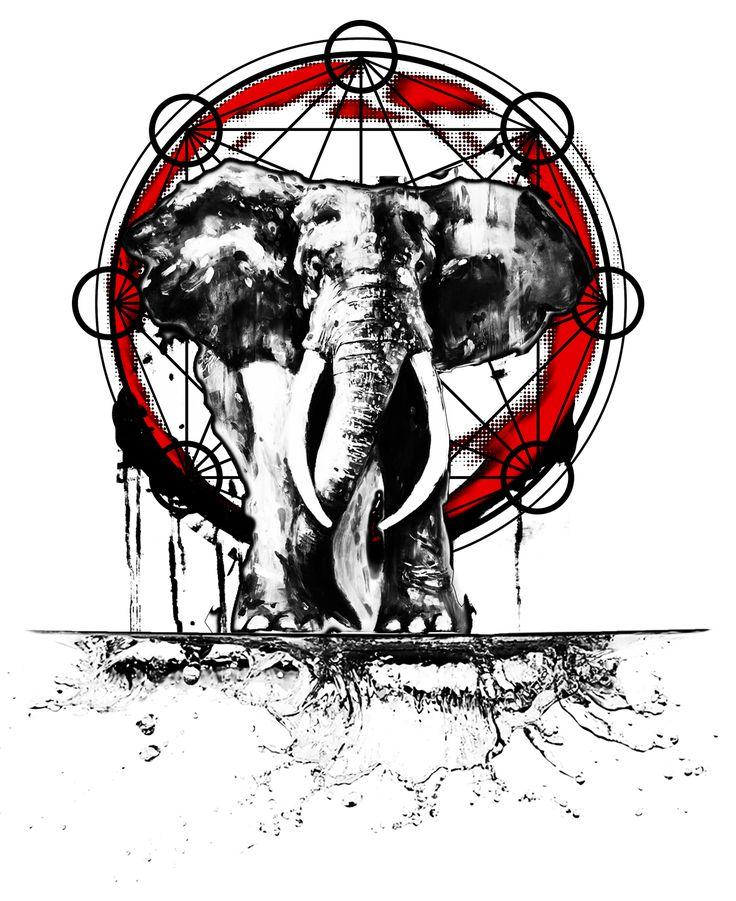 Bozak's Random Thoughts: Trash Polka Elephant with Sacred Geometry Fade