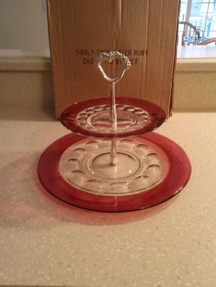 Ruby Red Depression Glass Cake Stand