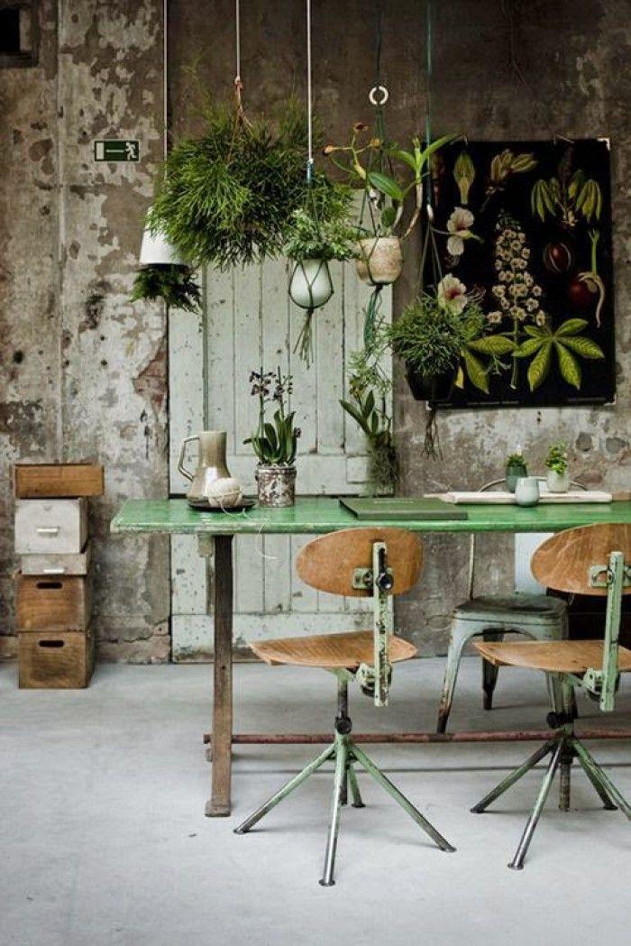 industrieel interieur - vintage - groen - botanisch - woontrend 2015