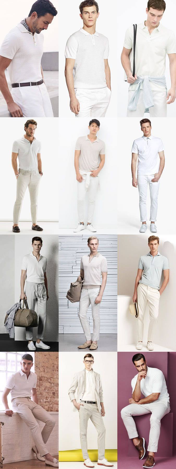 Men's All-White Polo Shirt Outfit Inspiration Lookbook