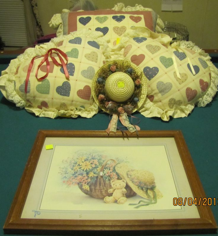 My Goodwill items from today for my Country collection..... Three Pillows, a Decorative hat and a picture. Total cost $5.90