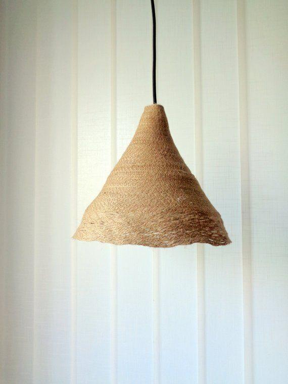 Burlap Pendant Light Shade Boho Rustic Lampshade Country Cottage