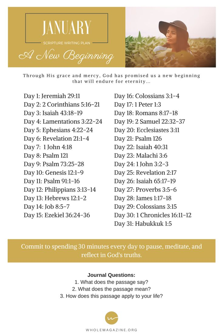 Start the New Year off right by meditating on God's Word. Here is our new Scripture writing plan for January! We are excited to have you join us as we dig in to the Bible as we kick off a new year. Share & enjoy! - www.wholemagazine.org: