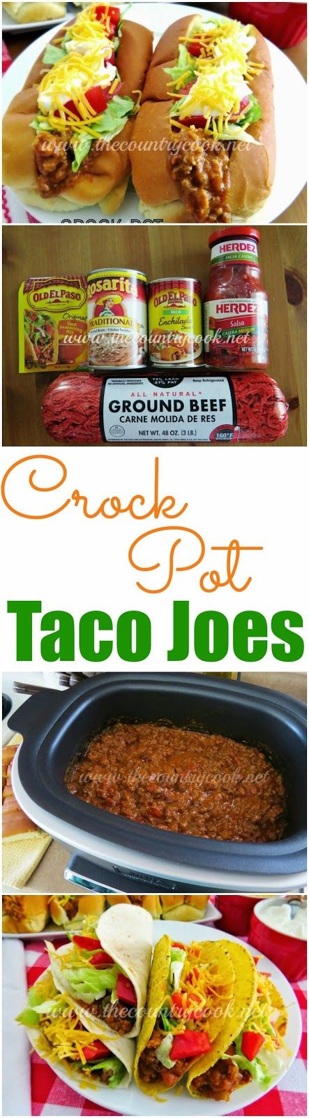 Crock Pot Taco Joes from The Country Cook. Like a sloppy joe but with a taco-flavored flair. Ground beef, salsa, and enchilada sauce combine to make the most AMAZING filling. Works good for tacos and burritos or taco salad too!