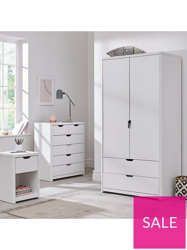 Aspen 3 Piece Package 2 Door 2 Drawer Wardrobe 4 2 Chest And Bedside Table White Oak Effect In 2020 White Chests White Oak Grey Oak