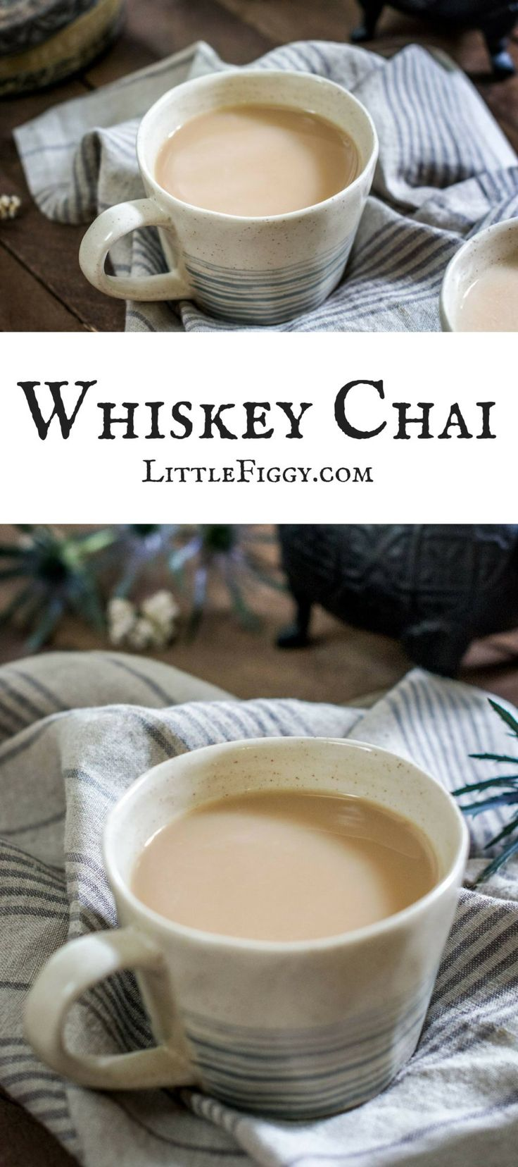 Stay warm with this easy to make Chai Tea with a wee bit of Whiskey (can definitely be made without alcohol if preferred). The DIY Chai Tea Blend is full of gorgeous spices including cinnamon, cardamom, cloves and more. Get the recipe from Little Figgy Food