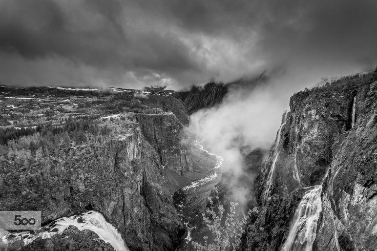 Vøringsfossen Waterfall B&W by Paulo Costa on 500px