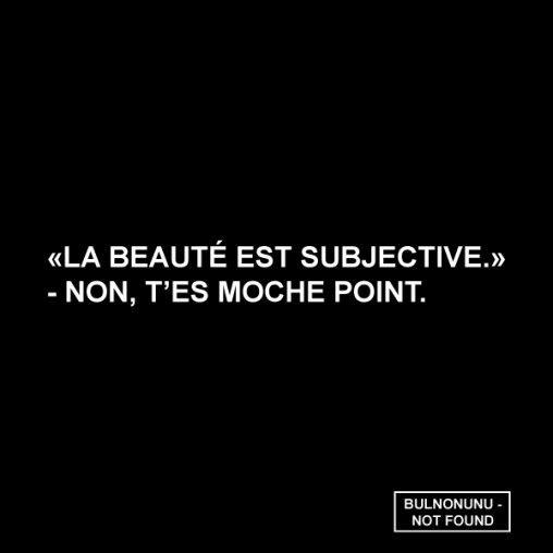 """""""La beauté est subjective."""" - Non t'es moche point. - Bulnonunu - HAHAHA, non mais là vraiment... C'est quoi cette gueule?"""