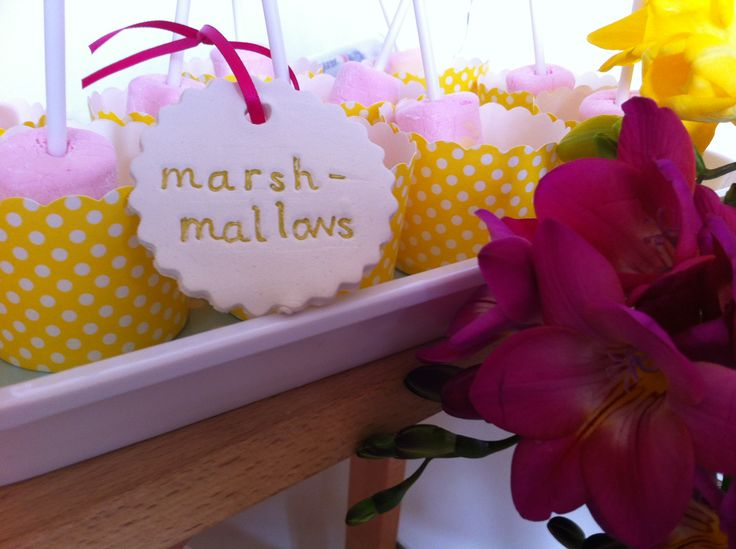 Marshmallows and clay tags