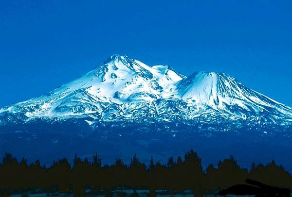 Mt. Shasta...looks like a mountain floating above the horizon.