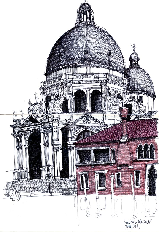 Santa Maria Della Salute - sketch by Michael Malone