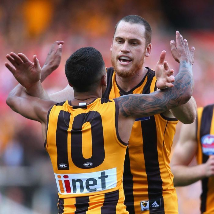 Jarryd Roughead and Bradley Hill of the Hawks celebrate a goal during the grand final against the Swans at the MCG, September 27, 2014 in Melbourne, Australia.