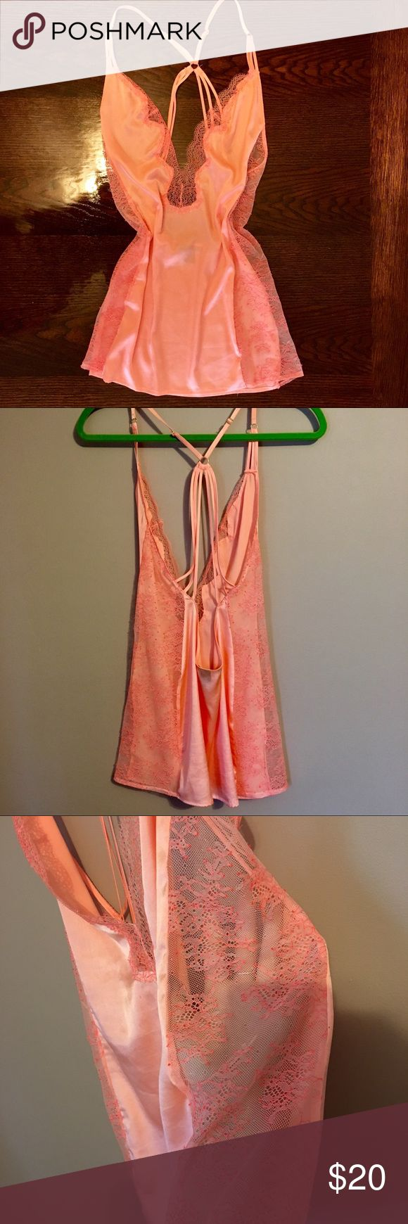 ✨SALE✨ Victoria's Secret Silky Lace Plunge Slip Coral strappy cross back slip from Victoria's secret. Lace side panels and deep plunge. Has been hanging in my closet and decided to part ways after never wearing 🌸 Victoria's Secret Intimates & Sleepwear Chemises & Slips