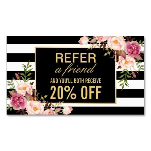 165 best plain business cards images on pinterest lyrics text referral card vintage gold floral beauty salon colourmoves