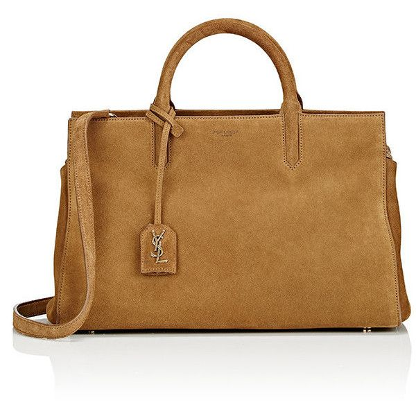 Saint Laurent Women's Rive Gauche Small Tote ($1,990) ❤ liked on Polyvore featuring bags, handbags, tote bags, zip top tote bag, detachable key ring, suede handbags, suede purse and brown tote purse