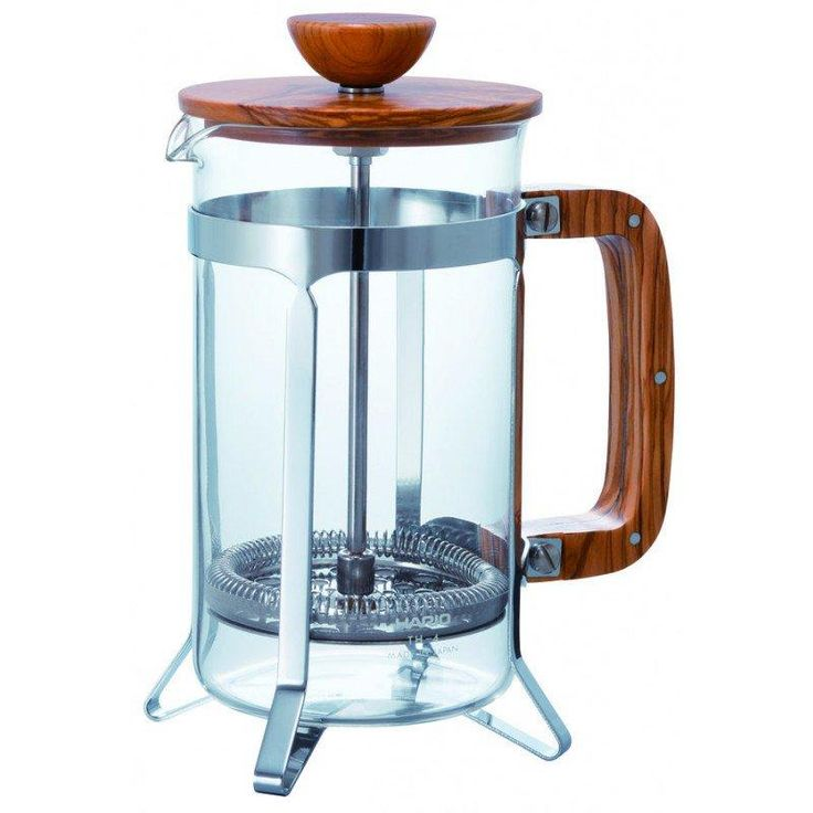 The Hario Coffee Press Olive Wood also includes a stainless steel frame, as well as Hario's signature heat proof high borosilicate glass as the press carafe. You have the option of receiving the press as one of two sizes: 300ml or 600ml.