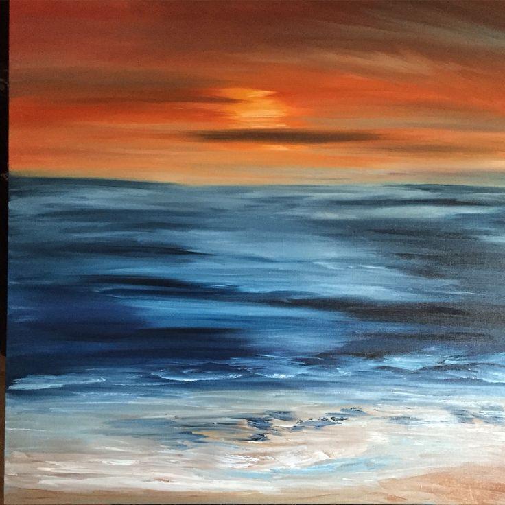 Sunset over the ocean, oil on canvas, 90x90cm