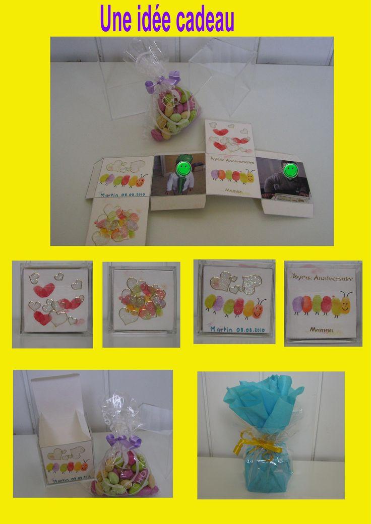 un cube cadeau personnalis par l 39 enfant avec des photos de l 39 enfant et des desins et des. Black Bedroom Furniture Sets. Home Design Ideas