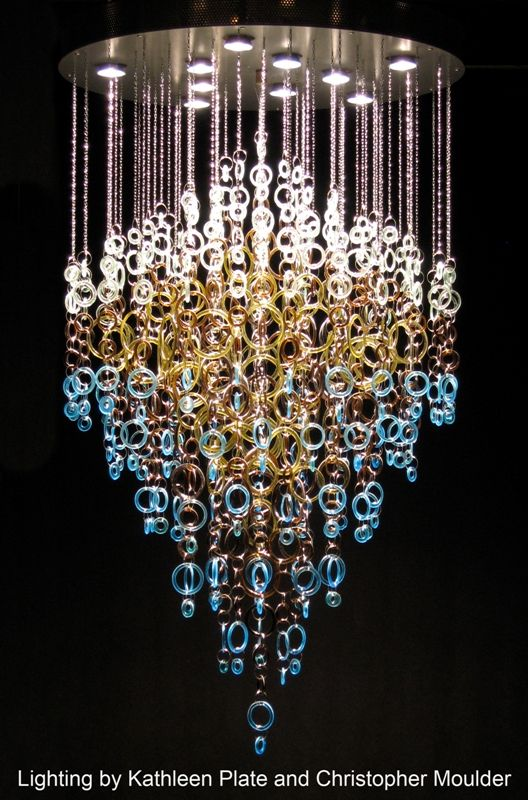 111 best images about diy chandelier lighting ideas on for Recycled glass projects