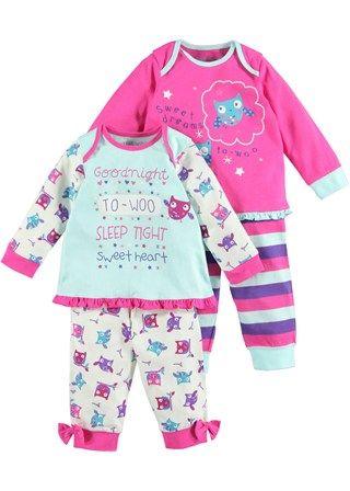 Girls 2 Pack Owl Printed Pyjamas - Matalan