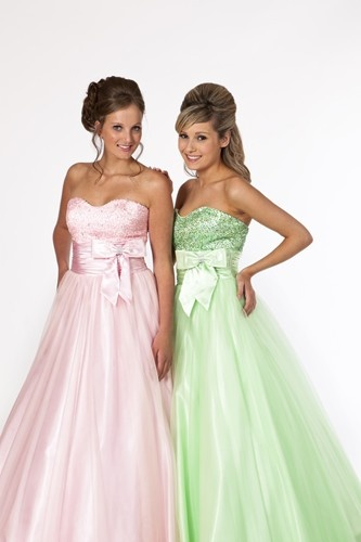 Two beautiful prom dresses by Prom Frocks.