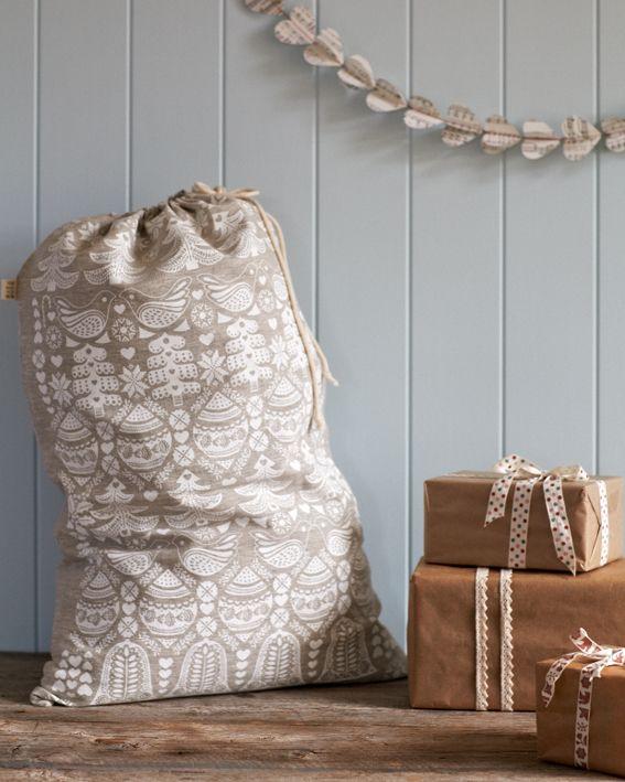 Hand Printed Santa Sack {White} | Wreaths & Stockings | SHOP | The Original Pop Up Shop