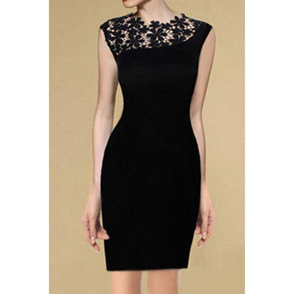 Elegant Round Neck Sleeveless Lace Splicing Black Dress For Women, BLACK, S in Lace Dresses | DressLily.com