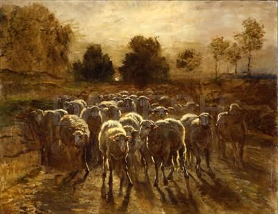 barbizon school constant troyon french 1810 1865 flock of sheep approaching or the return of. Black Bedroom Furniture Sets. Home Design Ideas