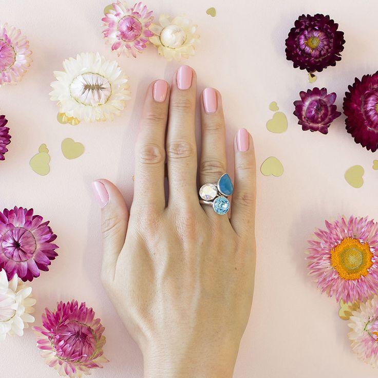 Caribbean  MKD Summer 2018 Stacker Ring Set #bling #MarisaKateDesigns #Swarovski #crystal #jewel #sterlingsilver