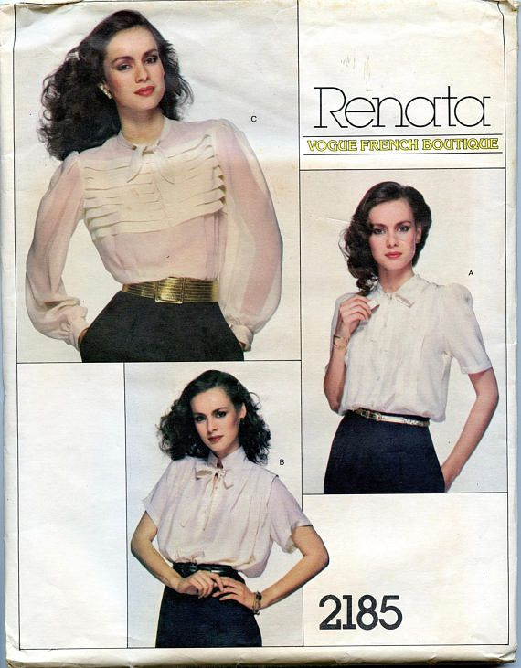 UNCuT VOGUE 2185 Renata French Boutique BLOUSE PATTERN Feminine Bow Tie blouse Short or Long Sleeves Bust 32.5 UNCuT Womens Sewing Patterns