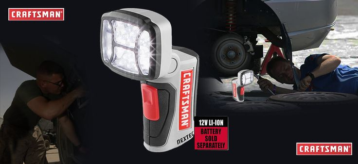 Image showing a Craftsman NEXTEC 12V LED Worklight and two men working in the darkness